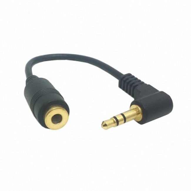 90 degree right angled 3.5mm 3poles Audio Stereo Male to Female Extension Cable 10cm Black