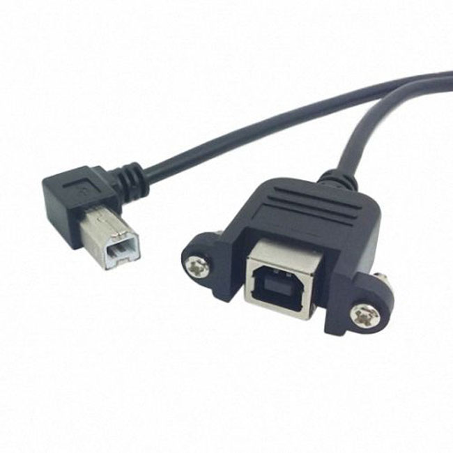 90 Degree Right Angled USB B Type Male to Female extension cable with screws for Panel Mount 50cm