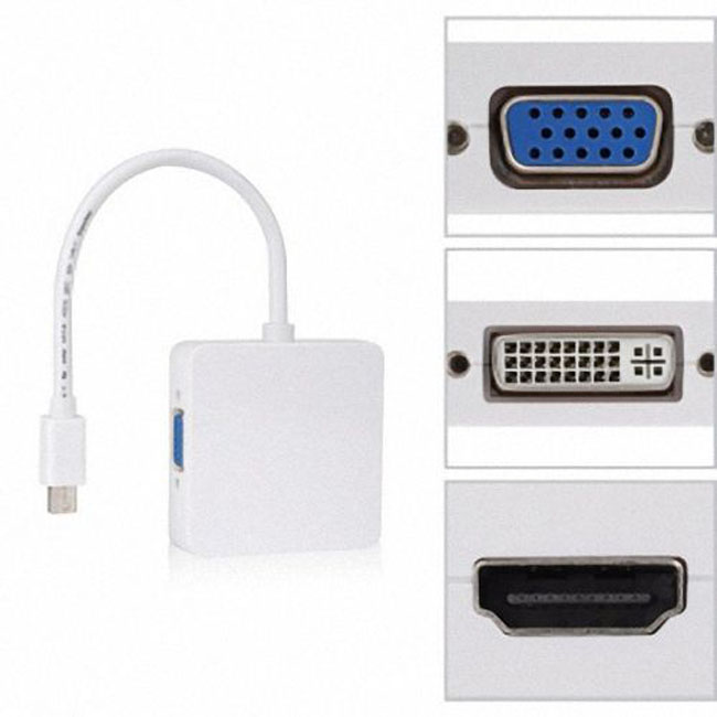 Square Mini DP Displayport Thunderbolt to DVI VGA HDMI HDTV Adapter 3 in1 for Apple MacBook Air Pro iMac