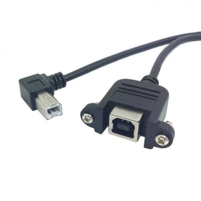 90 Degree Right Angled USB B Male to Female extension cable with screws for Panel Mount 70cm
