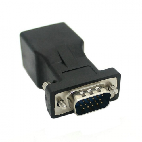 Extender VGA RGB HDB 15pin Male to LAN CAT5 CAT6 RJ45 Network Cable Female Adapter