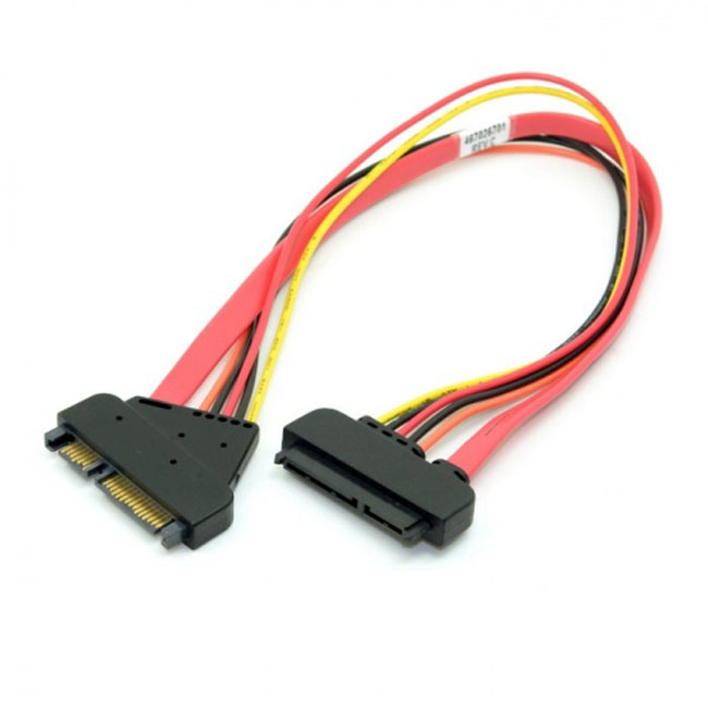 SATA III 3.0 7+15 22 Pin SATA Male to Female Data Power Extension Cable 30cm Red Color