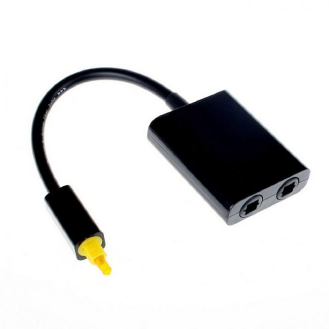 Dual Port Toslink Digital Optical Audio Splitter Adapter  Fiber Optic Audio Cable 1 In 2 Out Black