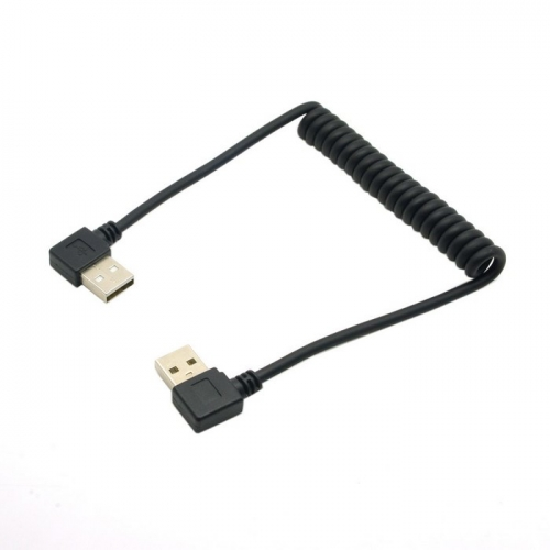Stretch 90 Degree Right Angled USB A Type Male to 90 Degree Angled USB Male Data Charge Cable