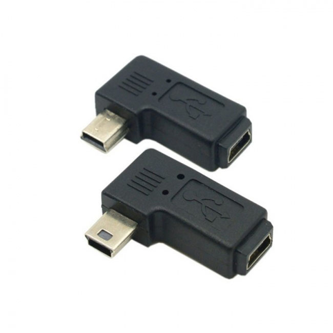 2pcs 90 Degree Left & Right Angled Mini USB 5 Pin Male to Female Extension Adapter