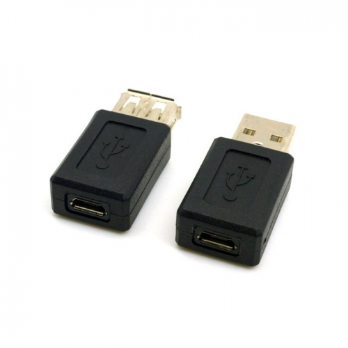 2pcs USB 2.0 A Type Male to Micro USB 5pin Female & USB Female to 5pin Female Extension Adapter Black