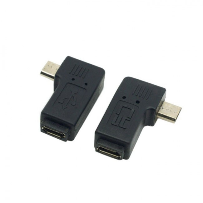 2pcs 90 Degree Left & Right Angled Micro USB 5 Pin Male to Female Extension Adapter