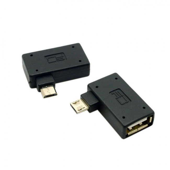 2pcs 90 Degree Left  & Right Angled Micro USB 2.0 OTG Host Adapter with USB Power for Cell Phone & Tablet