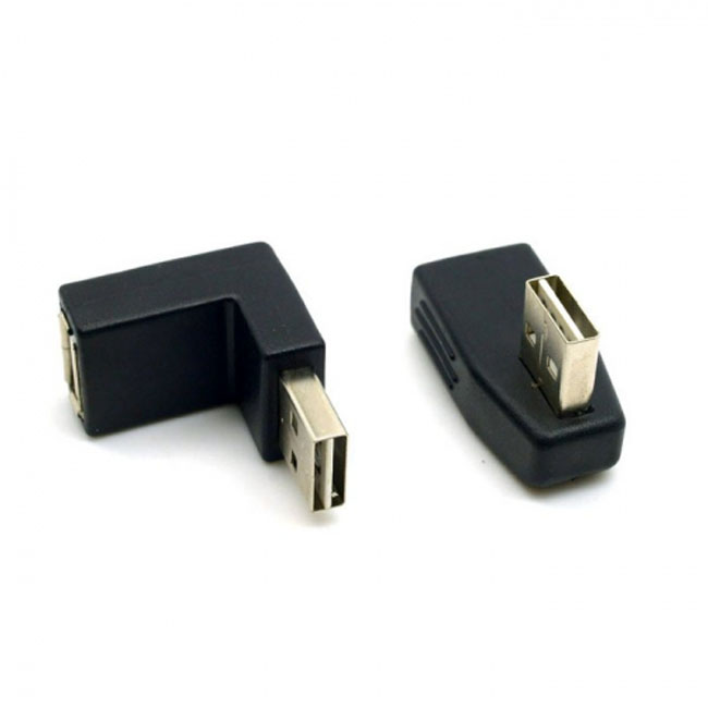 2pcs USB 2.0 A Type Male to Female Extension Adapter Down & Up & Left & Right Angled 90 Degree Reversible Design