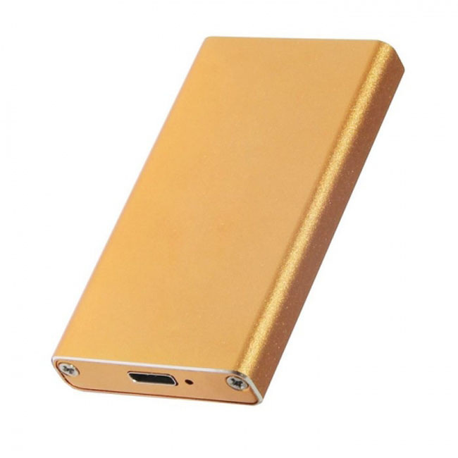 USB-C USB 3.1 Type C to 50mm mSATA PCI-E Solid State Disk SSD Case Enclosure Gold Color
