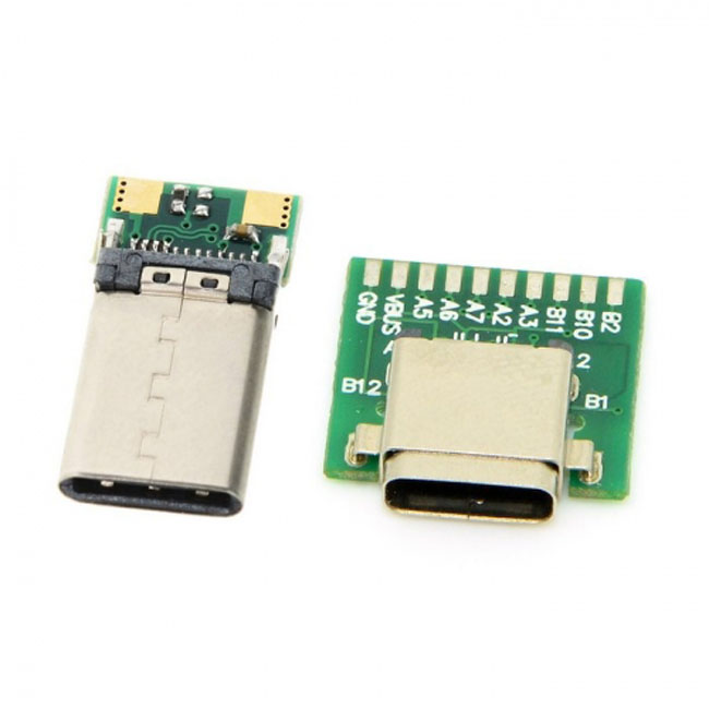 DIY 24pin USB 3.1 Type C Male & Female Plug & Socket Connector SMT type with PC Board 1 set