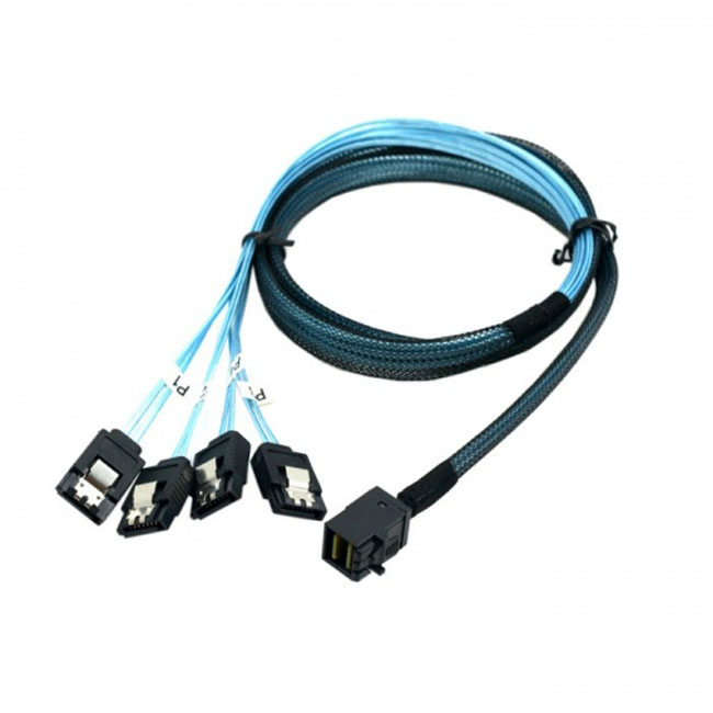 Internal Mini SAS SFF-8643 Host to 4 SATA 7pin Target Hard Disk 6Gbps Data Server Raid Cable 1m