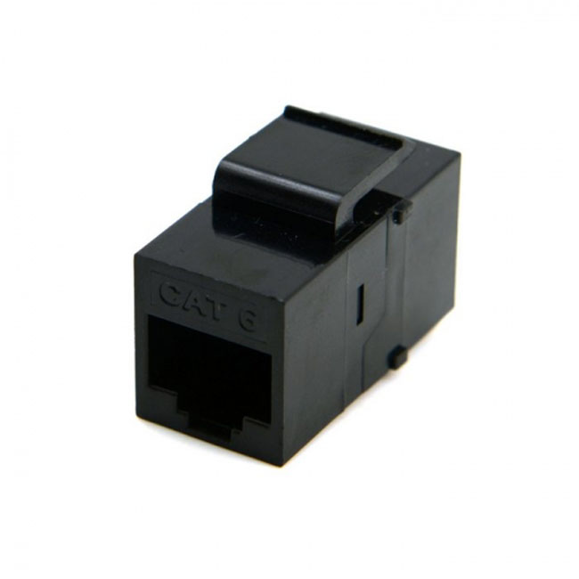 UTP CAT6 Keystone Coupler RJ45 Female to Female UTP CAT6 Keystone inline Coupler Black
