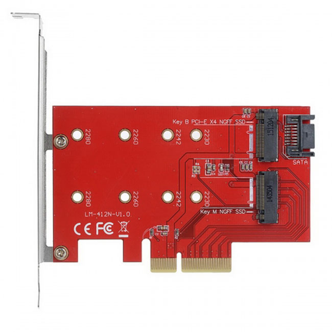 M.2 NGFF 4 Lane SSD to PCI-E 3.0 x4 & NGFF to SATA Adapter for XP941 SM951 PM951 A110 m6e SSD