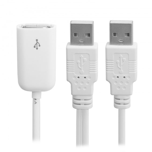 USB 2.0 Female to Dual A Male Extra Power Data Y Extension Cable for 2.5