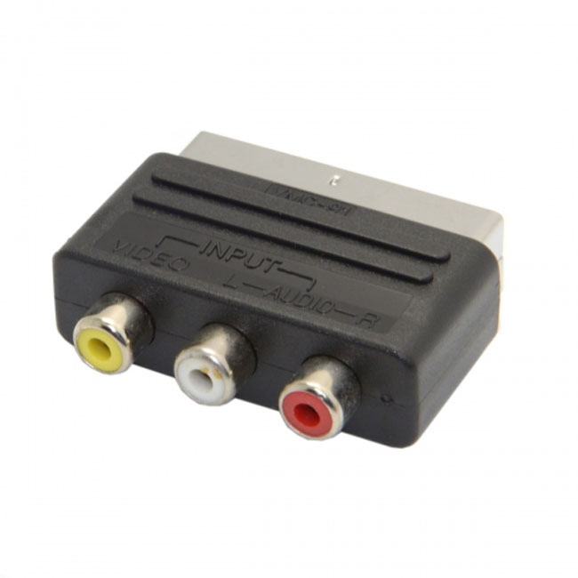 Audio Video Composite 3 RCA AV to Scart 21pin Adapter for  Microsoft Xbox & Europe HDTV