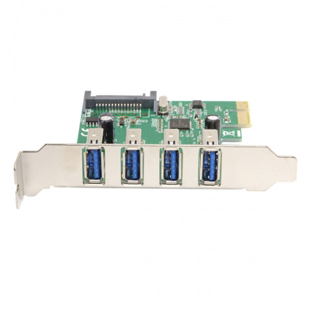 Super Speed Low Profile Half Height Bracket 4 Ports USB 3.0 PCI-E Express Interface Card for PC