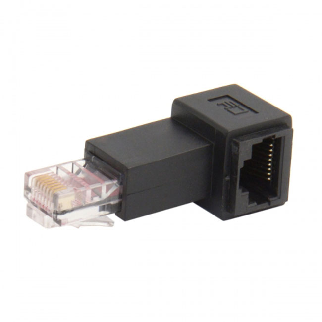 Left Angled 90 Degree 8P8C FTP STP UTP Cat 5e Male to Female Lan Ethernet Network Extension Adapter