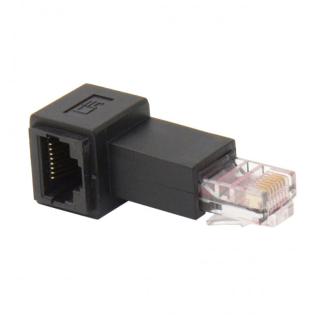 Right Angled 90 Degree 8P8C FTP STP UTP Cat 5e Male to Female Lan Ethernet Network Extension Adapter