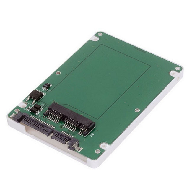 "1.8"" Micro SATA 16pin SSD to 2.5"" SATA 22pin 7+15 hard disk case Enclosure White 7mm height"