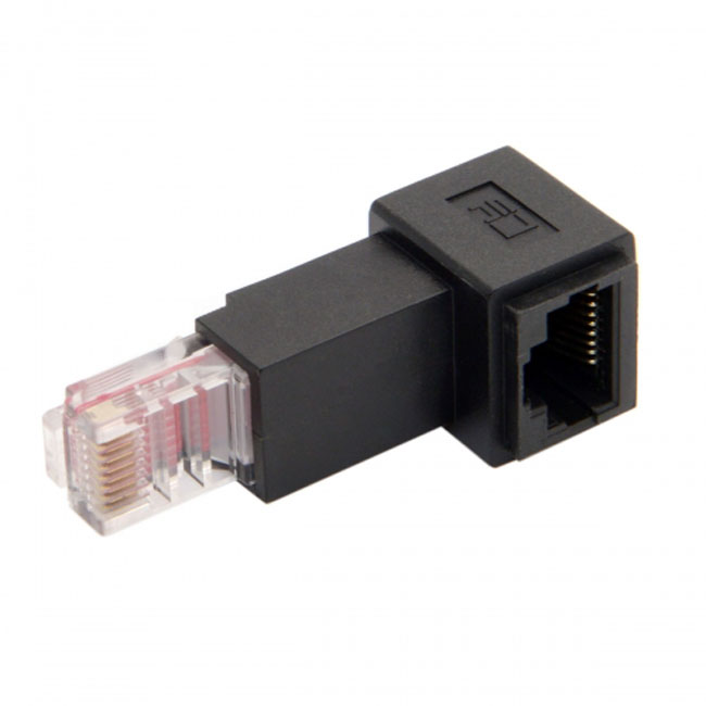 Up Angled 90 Degree 8P8C FTP STP UTP Cat 5e Male to Female Lan Ethernet Network Extension Adapter