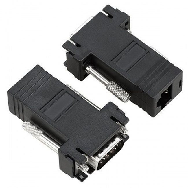 VGA RGB 15pin Male Extender To Lan Cat5 Cat5e RJ45 Ethernet Female Adapter Black