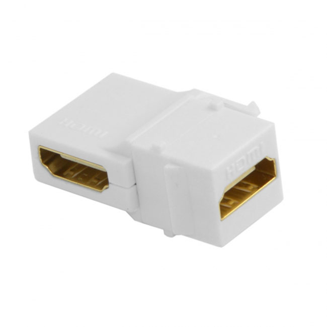 90 Degree Right Angled HDMI 1.4 Snap-in Female to Female Keystone Jack Coupler Adapter for Wall Plate White