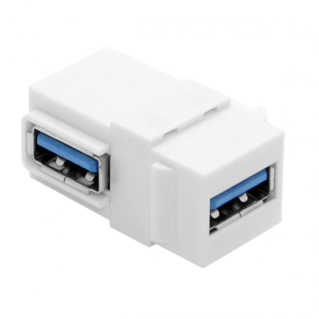 90 Degree Right Angled USB 3.0 A Female to A Female Extension Keystone Jack Coupler Adapter for Wall Plate Panel