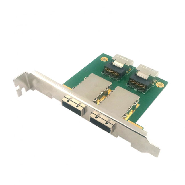 Dual Ports Mini SAS SFF-8088 To SAS 36Pin SFF-8087 PCBA Female Adapter With PCI Bracket