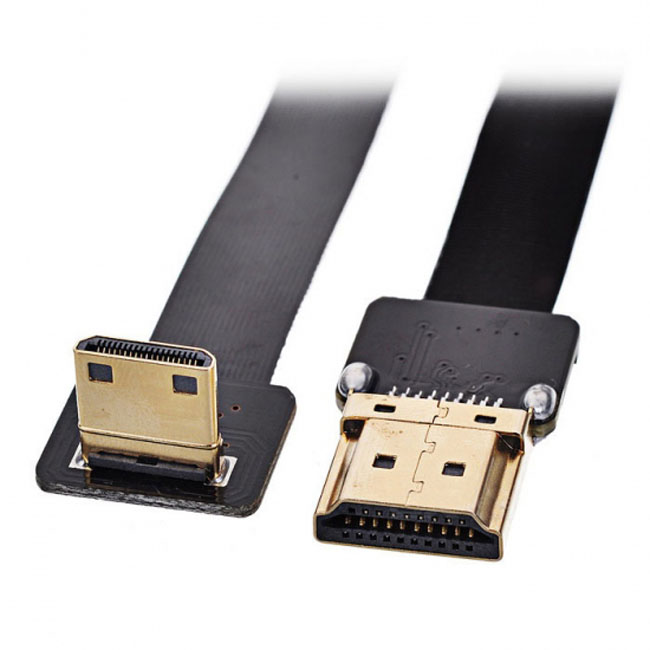 CYFPV 90 Degree Down Angled FPV Mini HDMI Male to HDMI Male FPC Flat Cable 50cm for FPV HDTV Multicopter Aerial Photography