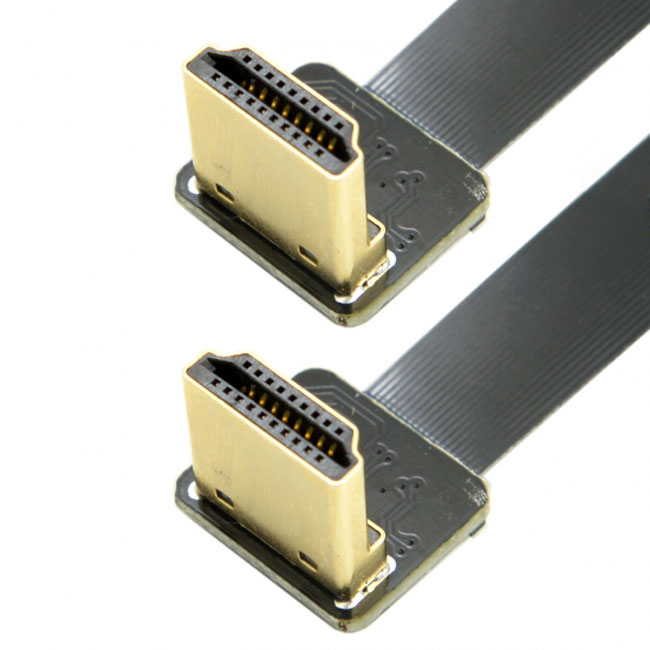 CYFPV Dual 90 Degree Down Angled HDMI Type A Male to Male HDTV FPC Flat Cable for FPV HDTV Multicopter Aerial Photography