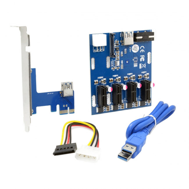 PCI-e Express 1x to 4 Port 1x Switch Multiplier Splitter Hub Riser Card with USB 3.0 Cable