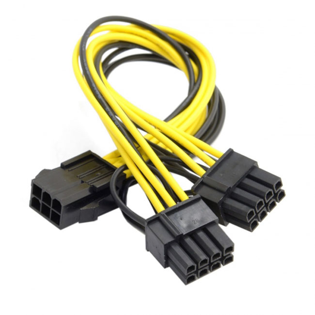 PCI-E PCI Express ATX 6Pin Male to Dual 8Pin & 6Pin Female Video Card Extension Splitter Power Cable