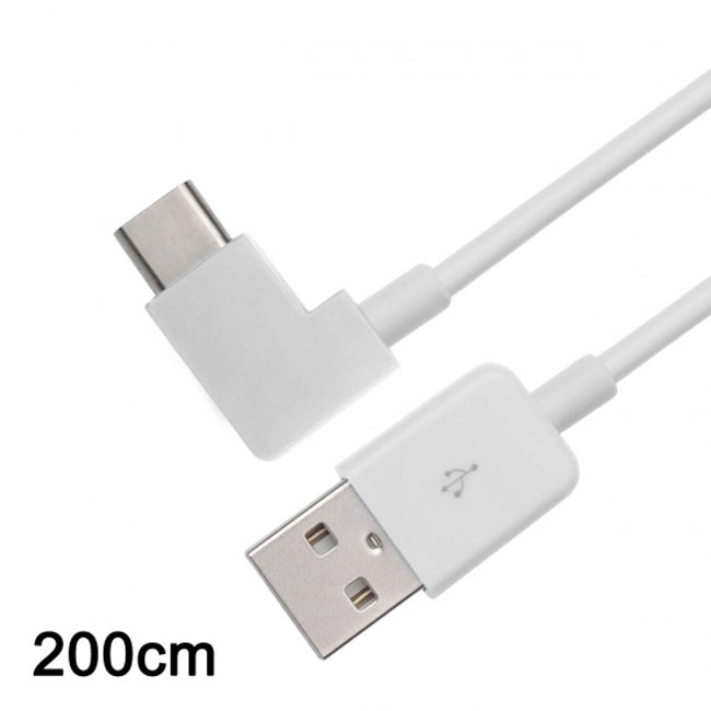 2m Right Angled USB 3.1 Type C USB-C to USB 2.0 Cable for Tablet  & Mobile Phone White