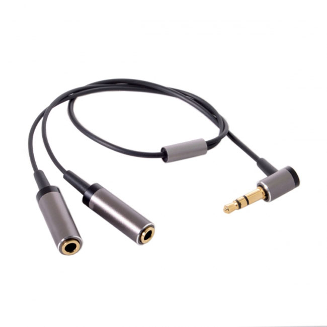 3.5mm Stereo Headphone Audio Cable Splitter Male to 2 Female 90 Degree Angled for Earphone