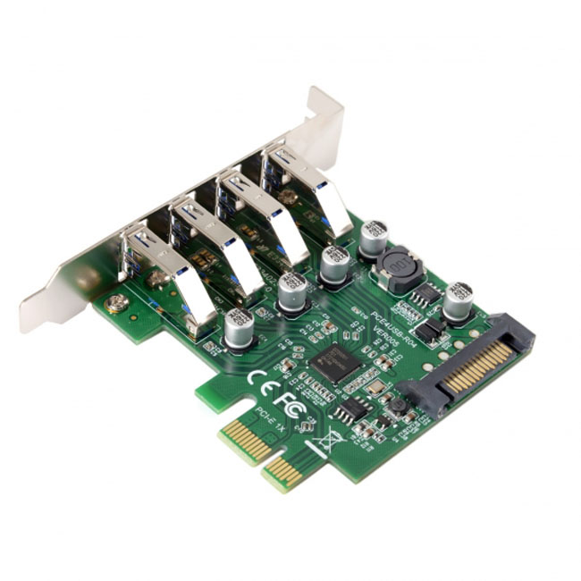 Low Profile 4 Ports PCI-E to USB 3.0 HUB PCI Express Expansion Card Adapter 5Gbps for Motherboard