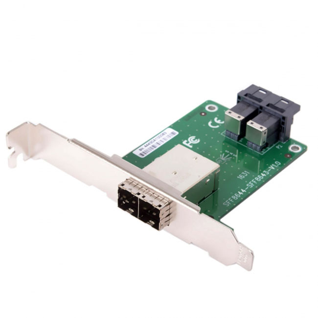Dual Ports Mini SAS HD SFF-8644 To Internal SAS HD SFF-8643 PCBA Female Adapter With Low Profile Bracket