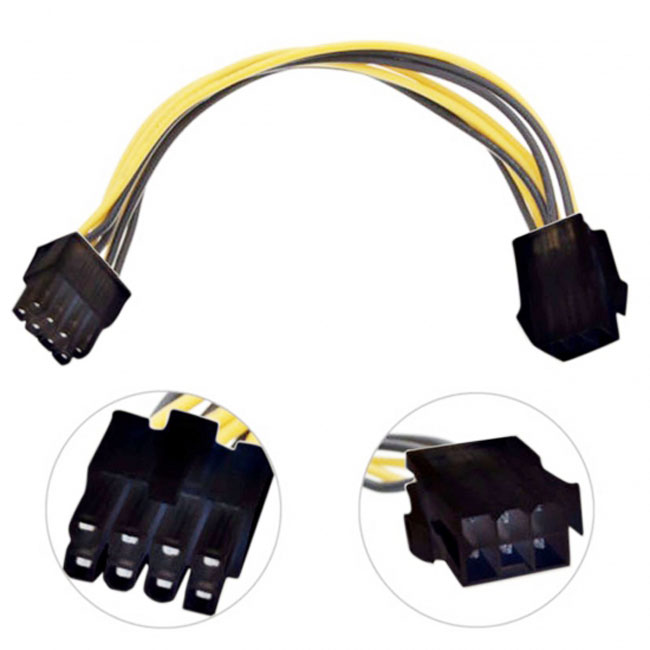 PCI-E PCI Express 6 Pin Male to 8 Pin Female Video Card Extension Power Cable
