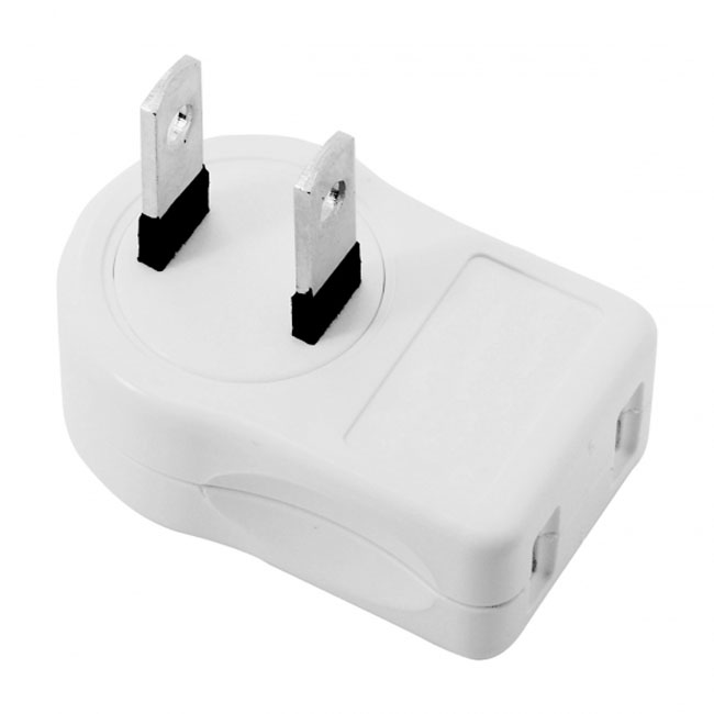 NEMA 1-15P USA Outlet Saver Power Extension Adapter 2-prong 2 Outlets 90 Degree Left Right Angled