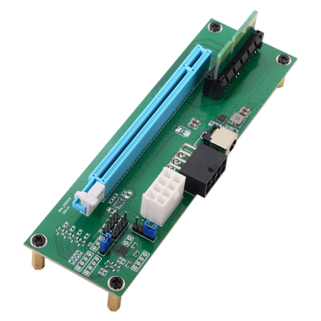 PCI-E Express 4x to 16x Male to Female Riser Extender Card Adapter With Power Port & Holder