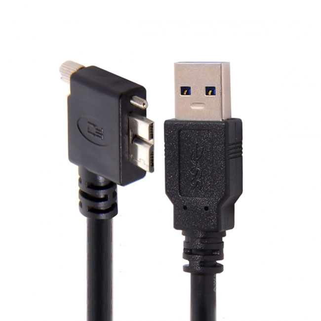 1.2m 3m 5m 90 Degree Left Angled Micro USB Screw Mount to 3.0 Data Cable for Industrial Camera