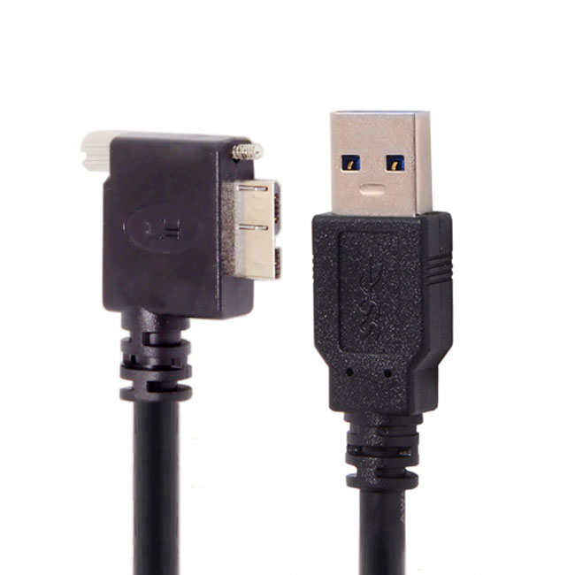 1.2m 3m 5m 90 Degree Right Angled Micro USB Screw Mount to 3.0 Data Cable for Industrial Camera