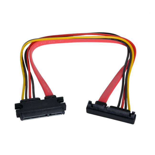 Down Angled SATA III 3.0 7+15 22 Pin SATA Male to Female Data Power Extension Cable 30cm