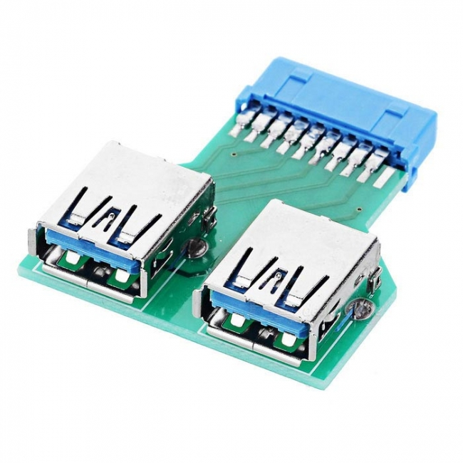 Dual USB 3.0 A Type Female to Motherboard 20/19 Pin Box Header Slot Adapter PCBA