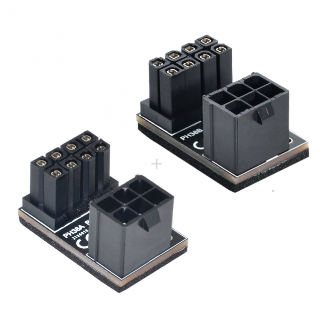 ATX 6Pin Female to 8pin Male 180 Degree Angled Power Adapter for Desktops Graphics Card