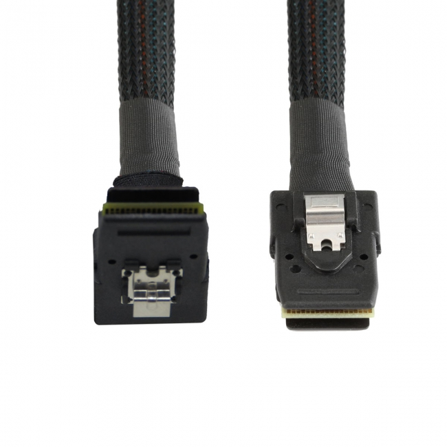 1m SFF-8087 Mini SAS 4i 36 Pin to 36Pin Right 90 Degree Angled Cable