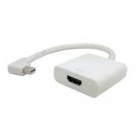Left Angled 90 degree Mini DisplayPort DP to HDMI Female Cable Adapter White Color 20cm for Macbook and ATI
