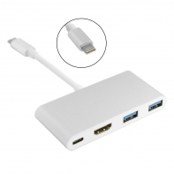 USB 3.1 Type C to HDMI HDTV &Dual USB HUB OTG & USB-C Female Charger Adapter for Laptop & Macbook