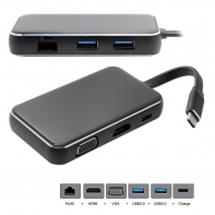 USB-C USB 3.1 Type C to HDMI & VGA & USB HUB OTG & Ethnernet & Charge Dock Adapter for Laptop