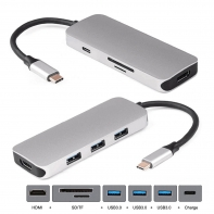 Dock USB-C to HDMI & 3 Ports HUB & TF SD Card Reader & Charger Multiport Adapter